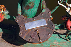 Big grunge rusty heart lock romance love taken closeup. Stock Photography
