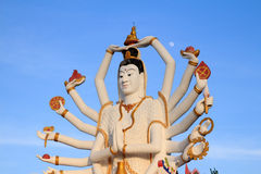Big Guan yin at wat plai laem with moon background on Koh Samui Stock Image