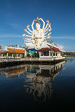 Big Guan yin at wat plai laem with moon background on Koh Samui Royalty Free Stock Photo