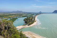 Big gulf with blue sky#2. Aerial view landscape of Prajuap Gulf with blue sky viewed from Khao Chong Krajok temple top view point, Prachuap Khiri Khan Province royalty free stock image