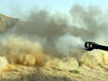 Big gun blast in Afghanistan Royalty Free Stock Photo