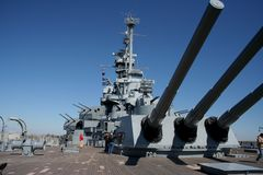 Big Guns. USS Alabama battleship memorial park in Mobile Alabama, aft view with guns pointing skyward Royalty Free Stock Image