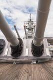 Big guns of the USS Missouri Stock Image