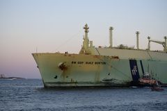 Big guy. Big boat in the ocean Stock Photo