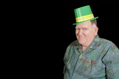 Big Guy ready for Irish party. Isolated on black stock photos