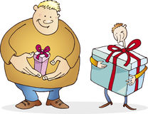 Big guy with small present and thin with huge one. Big guy with small present and thin guy with huge present Royalty Free Stock Photo