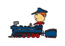 Big guy, small train. A big guy ridding his small train Royalty Free Stock Photos