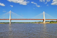 Big guyed bridge in Murom, Russia Stock Image