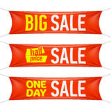 Big, half price and one day sale banners Stock Photo