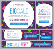 Big, half price and one day sale banners. Vector Stock Photography