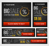 Big, half price and one day sale banners. Vector royalty free illustration