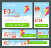 Big, half price and one day sale banners. Vector Stock Photo