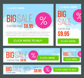 Big, half price and one day sale banners. Vector Stock Images