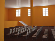 Big hall. With a scene and chairs Royalty Free Stock Image