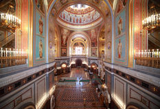 Big hall inside Cathedral of Christ the Saviour Stock Image
