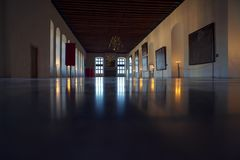The hall in Palace. Big hall inside the royal palace royalty free stock images