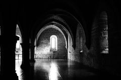 Big hall. In Poblet cloister, Spain Royalty Free Stock Images