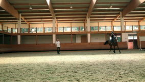 Big hall for training young girl riding horse for equestrianism stock video footage