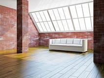 Big hall with white sofa Royalty Free Stock Image