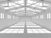 Big hall with windows on walls and ceiling Royalty Free Stock Photos