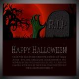 Big halloween banner - illustration of hand going Royalty Free Stock Photos