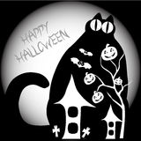 Big halloween cat. A big cat with big eyes contains elements of halloween Royalty Free Stock Images