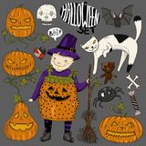 Big halloween colorful set with little girl witch, cat, scary faces pumpkins, heart, spider, candy, bones, skull, broom, teddy bea Royalty Free Stock Photos