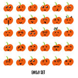 Big Halloween pumpkin emoji decoration faces in flat style. Pumpkin emotion styles for your design. Royalty Free Stock Image
