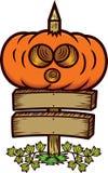Big Halloween Pumpkin on Wooden Board Sign Cartoon Royalty Free Stock Image