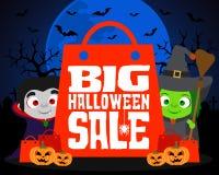 Big Halloween sale design background. Vector illustration Stock Image