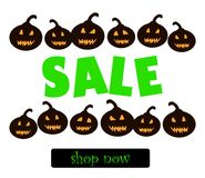 Big halloween sale. Shop now!. Time for halloween sale. Sale advertisement with pumpkins and shop now button. Halloween theme clean design Royalty Free Stock Images