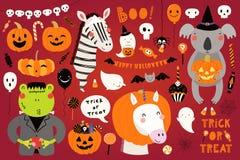 Big Halloween set with cute animals stock illustration
