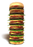 Big hamburger. 3d Very High Tower Hamburger isolated on white background Stock Photos