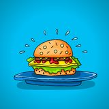 Big hamburger on a  background Stock Images
