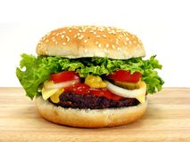 Big hamburger & cheese Royalty Free Stock Images