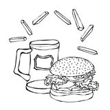Big Hamburger or Cheeseburger, Beer Mug or Pint and Fried Potato. Burger Logo. Isolated On a White Background. Realistic Stock Image