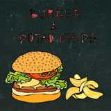 Big Hamburger or Cheeseburger, Beer Mug or Pint and Potato Chips. Burger Logo. Isolated on a Black Chalkboard Background Royalty Free Stock Photo