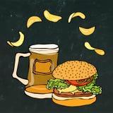 Big Hamburger or Cheeseburger, Beer Mug or Pint and Potato Chips. Burger Logo. Isolated On a White Background. Realistic Stock Images