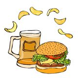 Big Hamburger or Cheeseburger, Beer Mug or Pint and Potato Chips. Burger Logo. Isolated On a White Background. Realistic Doodle Ca Stock Photography