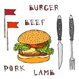 Big Hamburger or Cheeseburger. Burger Beef Lettering, Flag, Knife and Fork. Isolated On a White Background. Realistic Royalty Free Stock Photo