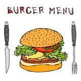 Big Hamburger or Cheeseburger. Burger Menu Lettering, Knife and Fork. Isolated On a White Background. Realistic Doodle Cartoon Sty. Big Hamburger or Cheeseburger Royalty Free Stock Photos