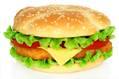 Big hamburger with chicken cutlet Royalty Free Stock Images