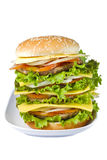 Big hamburger with clipping path. Big hamburger isolated on white background with clipping path Stock Image
