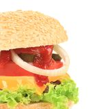 Big hamburger close up Stock Photo