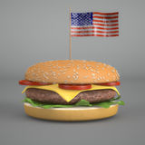 BIg Hamburger. 3d render of a BIg Hamburger eith the american flag Royalty Free Stock Photos