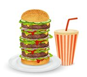 Big hamburger and drink Royalty Free Stock Photos