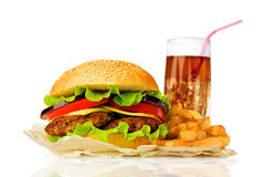 Big hamburger, French fries  and cola Royalty Free Stock Photo