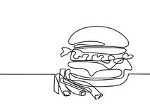 Big Hamburger with French fries. Continuous line drawing. Big Hamburger with French fries Fast food. Vector illustration black line on white background Royalty Free Stock Photos