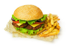 Big hamburger and french fries Royalty Free Stock Images