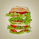 Big hamburger isolated on gray Stock Images